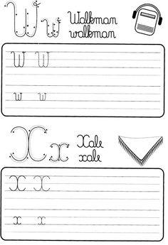 Atividade de caligrafia letras do alfabeto ilustrado - Como Fazer Literacy Worksheets, Math Literacy, Dinosaurs Preschool, Christmas Math, Spanish Class, Cursive, Professor, Alphabet, Math Equations