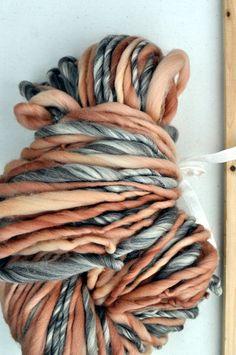 Erased Peach Handspun Yarn Bulky Tan Brown Cream Peach 8 by YOSPUN