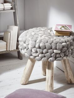 Chunky Grey Felted Stool - Luxury Bean Bags & Bean Bag Chairs - Luxury Seating - Luxury Home Furniture