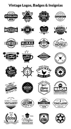 Vintage Logos, Badges, Insignias Kit Vol 1 GraphicsFuel is part of Vintage logo design - This is a vintage logos, badges and insignias kit with off Read Vintage Logos, Vintage Logo Design, Cafe Logo, Lettering Styles, Badges, Typography Logo, Logo Nasa, Graphic Design Inspiration, Logo Templates