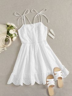 Cute Comfy Outfits, Cute Summer Outfits, Girly Outfits, Pretty Outfits, Dress Outfits, Girls Fashion Clothes, Teen Fashion Outfits, Mode Outfits, White Dress Outfit