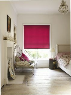 Brighten up your bedroom with one of our roller blinds.#rollerblinds #pinkblinds #home #interiordesign #bedroomblinds Please visit us at www.barnesblinds.co.uk