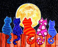Meowing At Midnight by Nick Gustafson - Meowing At Midnight Painting - Meowing At Midnight Fine Art Prints and Posters for Sale// que preciosidad de gatos Jeje :) Club D'art, Art Club, Fine Art Amerika, Art Fantaisiste, Ouvrages D'art, Cat Colors, Arte Pop, Whimsical Art, Elementary Art