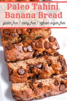 This moist gluten free paleo tahini banana bread is made with almond flour, tahini, maple syrup, and other simple ingredients. It is the best healthy banana bread! Banana Bread Almond Flour, Gluten Free Banana Bread, Healthy Banana Bread, Best Banana Bread, Gluten Free Baking, Healthy Baking, Healthy Breads, Paleo Bread, Paleo Chocolate Chips