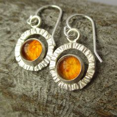 Flutter Earrings - Baltic Amber - Sterling and Fine Silver - HANDMADE by LunasaDesigns on Etsy