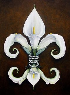 Flower Of New Orleans White Calla Lilly Painting - Flower Of New Orleans White Calla Lilly Fine Art Print