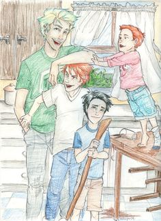 Cousinly Affection by burdge-bug (Teddy Lupin, James Potter, Albus Potter, Hugo Weasley)