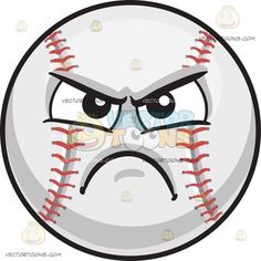 An Angry Baseball :  A ball with white covering and red arch stitches on the left and right sides black brows furrowed as his lips frown in anger and disappointment  The post An Angry Baseball appeared first on VectorToons.com.