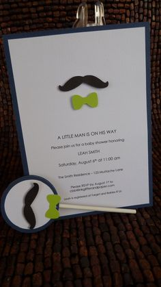 Mustache and Bow Tie Baby Shower Invitation by inkglittlerandpaper