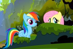 gif of Fluttershy and Rainbow Dash