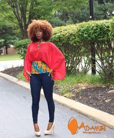 Haut africain impression Jérémy avec mousseline de soie