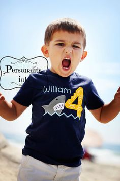 Personalized Boys Shark Appliqued Shirt - Boys Shark tshirt - Ocean beach party - Shark Attack - Birthday shirt on Etsy, $22.50