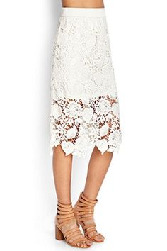 Crochet Flower Solod Color Lace Midi Skirt
