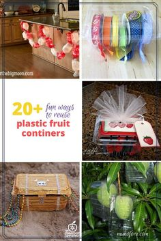 Repurpose plastic fruit containers for crafts, storage, gardening and home decor. Upcycling. Green living.