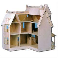 The Pierce Dollhouses:  Unpainted Back View