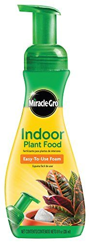 Miracle-Gro Indoor Plant Food Foam, (Plant Fertilizer) For all indoor plants, including edibles. Apply once a week. Easy-to-use foam dissipates into the