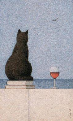 These are a few of my favorite things.water, black cat, wine and books. I Love Cats, Crazy Cats, Magic Realism, Art And Illustration, Cat Illustrations, Cat Drawing, Aesthetic Art, Cat Art, Cat Lovers