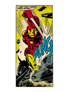 Marvel Comics Retro: The Invincible Iron Man Comic Panel, Fighting, Charging and Smashing (aged) Print at Art.com