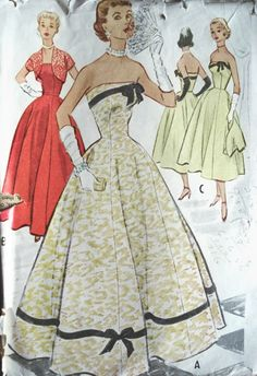 1950s BEAUTIFUL EVENING DRESS, BOLERO JACKET PATTERN FLATTERING STRAPLESS BODICE FULL SKIRTED McCALLS  9152