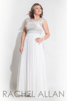 Size 14W White Rachel Allan Curves 7413 is a long chiffon plus size prom gown with multicolor beaded bodice.