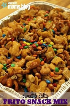 Sweet and salty Frito snack mix is the perfect snack for the Super Bowl. Check out this easy recipe and be prepared to make everyone happy at the big game! #Snackmixrecipes
