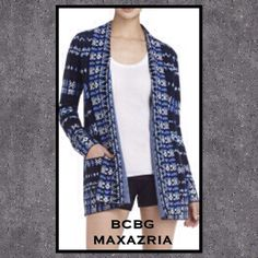 """BCBG MAXAZRIA Amur Jacket NWOT Tapestry - jacquard cardigan. Front hangs 34"""" and back is 29.5"""". The sleeve is 25"""" from the shoulder. There are two front patch pockets. BCBGMaxAzria Jackets & Coats Blazers"""