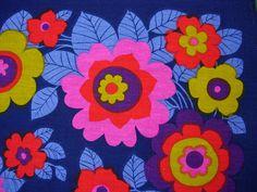 colour combo   Retro 1970s Funky Flower Power  Linen Tea Towel Blue Pink Red. £19.99, via Etsy.