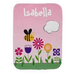 Happy Bee Flower Garden Personalized Baby Burp Cloths