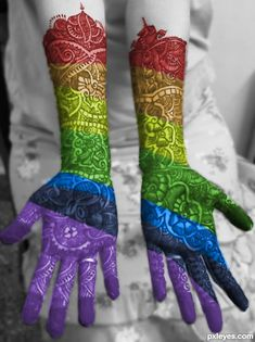 Rainbow Mehendi picture, by for: rainbowified photoshop contest Taste The Rainbow, Over The Rainbow, World Of Color, Color Of Life, Mehendi, Color Splash, Colour Pop, Rainbow Henna, All The Colors