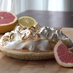 Recipe with video instructions: Grapefruit meringue pies deserve some respect. Ingredients: Premade crust - cook to directions on package, Lemon/ Grape fruit filling, 10 eggs yolks, 1 cup sugar,. Just Desserts, Delicious Desserts, Yummy Food, Grapefruit Pie, Grapefruit Recipes Dessert, Grape Pie, Pie Recipes, Cooking Recipes, Tastemade Recipes