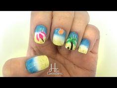 Decoracion de uñas Playa - Beach Nail Art - YouTube