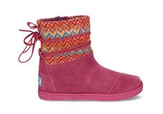 undefined Pink Multi Zigzag Tiny TOMS Nepal Boots