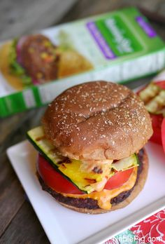 Spicy Black Bean Burger with Grilled Veggies and Sriracha Mayo & $100 VISA card GIVEAWAY #sponsored
