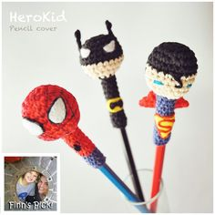 Finn's Pick: Superhero Pencil Covers! #crochet #knithacker #batman #spiderman #superman