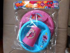 Dreamworks Trolls Poppy Mealtime Set 3 Piece Cup Plate Bowl Plastic NEW #Dreamworks
