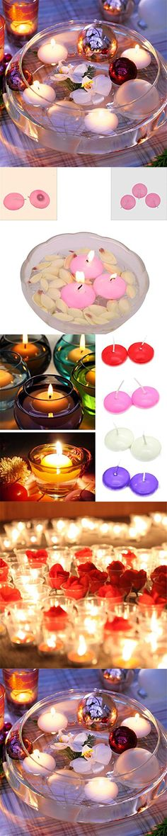 Orliverhl 10pc Round Candles Floating Floater Candle Colors Romantic Wedding Party Home Decor