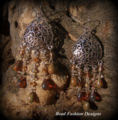 Spanish Style Ember Picasso Teardrop Earrings | BEADFASHIONDESIGNS - Jewelry on ArtFire