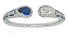Platinum, Sapphire and Diamond Bangle Bracelet, Van Cleef & Arpels, circa 1924  This one-of-a-kind diamond and sapphire bracelet was recently on display at the Musee des Arts Decoratifs at the popular exhibition, Set in Style: The Jewelry of Van Cleef & Arpels, on loan from the Stephen Russell Collection. Photo c/o Stephen Russell