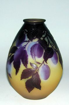 Plum Vase by Émile Gallé. Art Nouveau era circa 1890