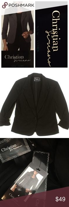 """💯 AUTHENTIC CHRISTIAN SIRIANO BLAZER NWT 😳 Gorgeous Christian Siriano 3/4 Sleeve Ruched Ponte Blazer Brand new, with tags! Slimming fit and super comfortable! Approximately 25""""L with 18"""" sleeves. Amazing designer 👩🎨 Amazing price 💰 comes from a smoke free home. Bundle & save! Christian Siriano Jackets & Coats Blazers"""