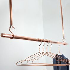 Hanging Copper Clothes Rail, Clothes Rack, Hanging Rail, Copper Rail - Make-up Copper Clothes Rail, Hanging Clothes Rail, Diy Clothes Rack, Hanging Rail, Brighton, Ceiling Hooks, Copper Ceiling, Hanger Rack, Shop Fittings