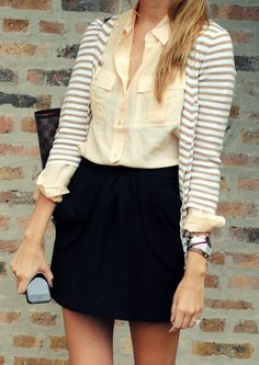 Outfit Posts: outfit post: peach button down, grey striped cardigan, black skirt