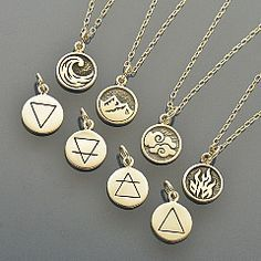 Elemental Charm Necklaces - Earth, Air, Water and Fire. This great deal makes gift giving easy! You will receive four Ready to Wear Element Necklaces - these make the perfect Best Friend gift set. (Or keep all four for yourself and wear them reflective of your mood.) Suspended from an 18 inch long Sterling Silver Italian Chains, these best sellers are sure to please. Each beautifully rendered, double sided charm features the image of the element on one side and the symbol for it on the…