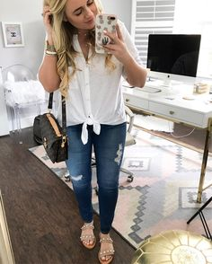 """773 Likes, 37 Comments - Kristin Leahy (@fancythingsblog) on Instagram: """"The tie-front top obsession is real! This one is even cuter with the buttons  anddd do you notice…"""""""