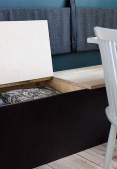 Create practical storage in your dining area with a bench with smart storage under the seats.