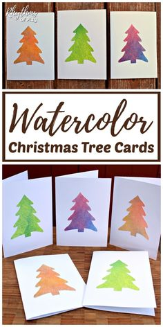 Easy Watercolor Christmas Tree Cards - Make some handmade Christmas cards with the kids for family and friends! Invite children to paint with watercolors or recycled old artwork. Try this easy homemade Christmas card hack today! Homemade Christmas Cards, Christmas Tree Cards, Christmas Crafts For Kids, Christmas Activities, Kids Christmas, Handmade Christmas, Christmas Projects, Christmas Mood, Holiday Cards