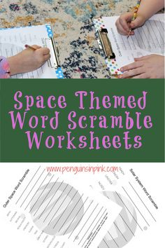These FREE Printable Word Scramble Worksheets are an easy way to help kids review their space words or terms. There are 4 Word Scramble worksheets and answer keys. The first and second are the same just one has a word bank and the other does not. They both have 10 words and covers just the solar system, the big 8 planets, sun, and moon. While the third and fourth are the same just one has a word bank and the other does not. They both include 15 outer space terms like meteor, dwarf planet… 8 Planets, Scramble Words, Space Words, Dwarf Planet, Science Resources, Help Kids, Sensory Bins, Kids Education, Outer Space