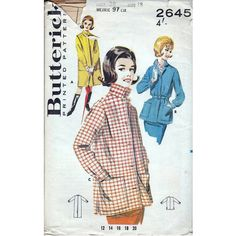 60s Butterick sewing pattern 2645, jacket and raincoat pattern . Bust 38 inches