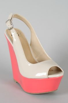 Delicious Loco-S Two Tone Slingback Wedge