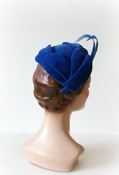 1950s Vintage Hat Blue Velvet Petaled Feather by Sweetbeefinds